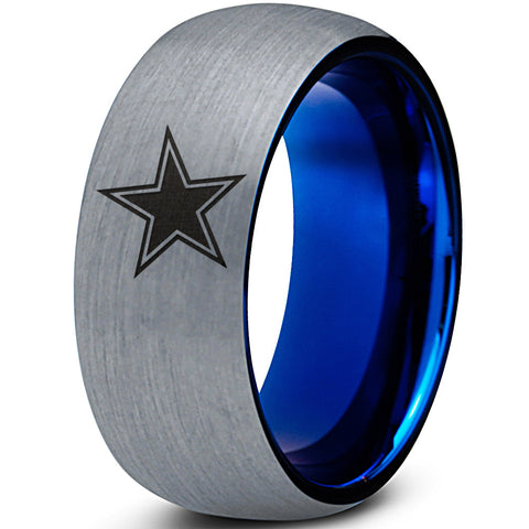 SPECIAL SALE!  Dallas Cowboys Blue Dome Tungsten Wedding Band Ring