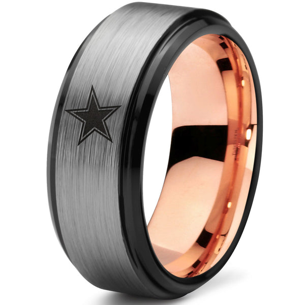 18k Rose Gold Dallas Cowboys Black Beveled Tungsten Ring