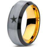 18k Yellow Gold Dallas Cowboys Black Beveled Tungsten Ring