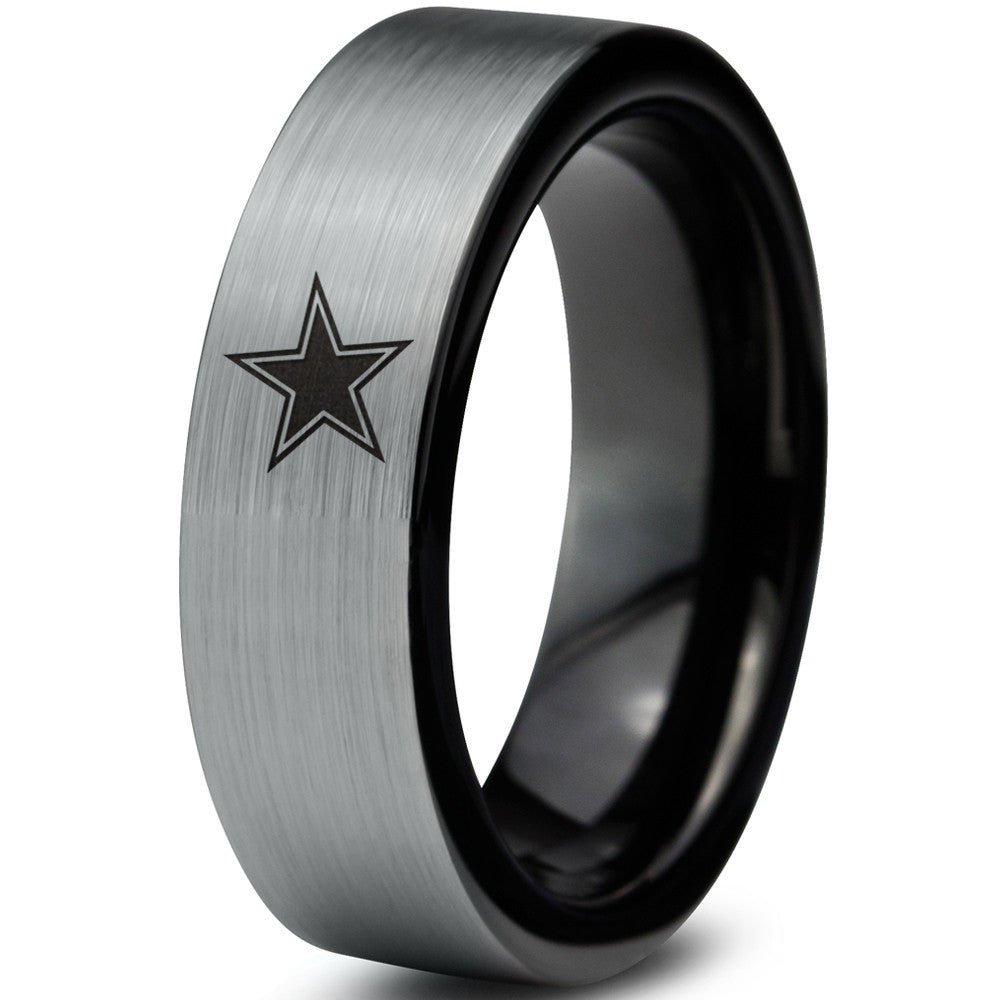 8mm Dallas Cowboys Silver Black Flat Tungsten Ring