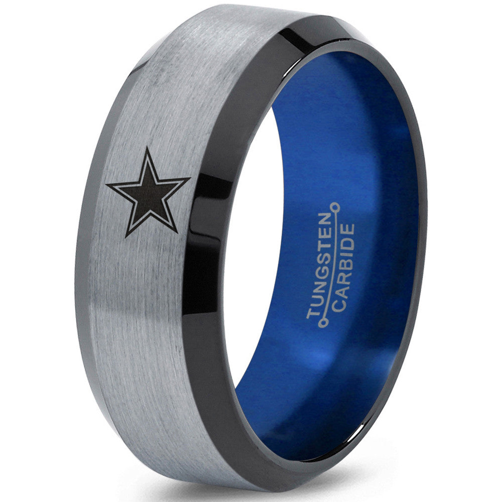 8mm Dallas Cowboys Black Beveled Tungsten Ring