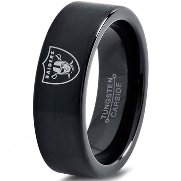 Oakland Raiders Black Tungsten Ring