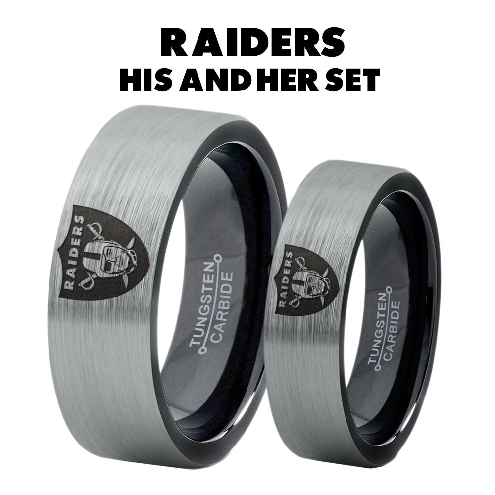 Oakland Raiders His and Hers Tungsten Ring Set