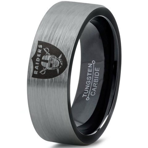 Oakland Raiders Flat Cut Tungsten Wedding Band Ring