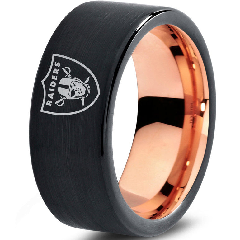 Oakland Raiders Black with 18k Rose Gold Interior Tungsten Ring