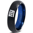 New York Giants Brushed Black Blue Dome Cut Ring
