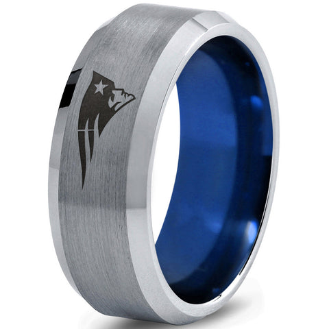 New England Patriots Silver Bevel Blue Tungsten Sports Ring