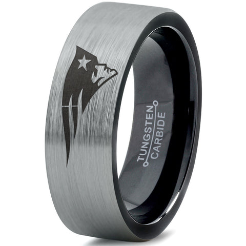 New England Patriots Brushed Silver Tungsten Ring