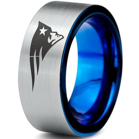 New England Patriots Silver Blue Tungsten Ring