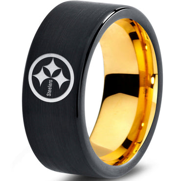 Pittsburgh Steelers Ring with 18k Yellow Gold Plated Interior