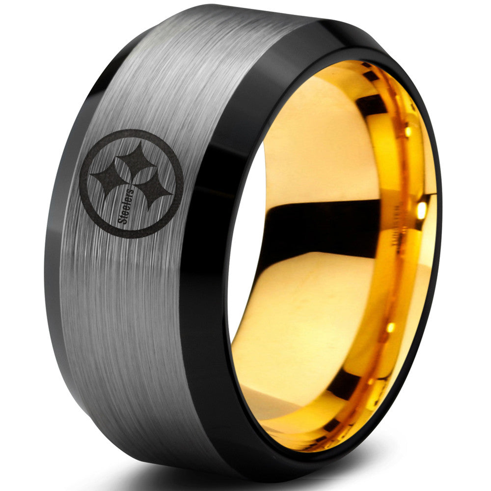 Pittsburgh Steelers Silver Beveled Ring with 18k Gold Interior