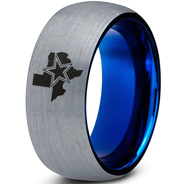 8mm Cowboys State Texas Blue Tungsten Ring