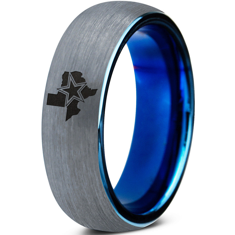 6mm Cowboys State Texas Blue Tungsten Ring