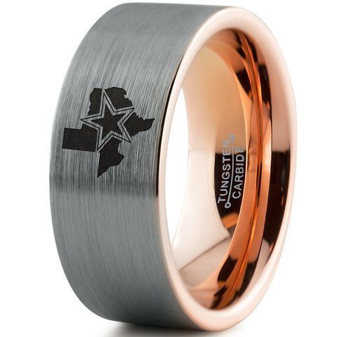8mm Cowboys State 18k Rose Gold Interior Plated Tugsten Ring