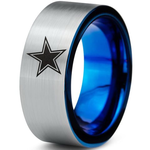 8mm Dallas Cowboys Blue Flat Tungsten Wedding Band Ring