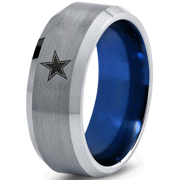 Dallas Cowboys Blue and Silver Beveled Tungsten Wedding Band Ring