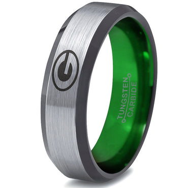 Green Bay Packers Silver Beveled Green Tungsten Ring
