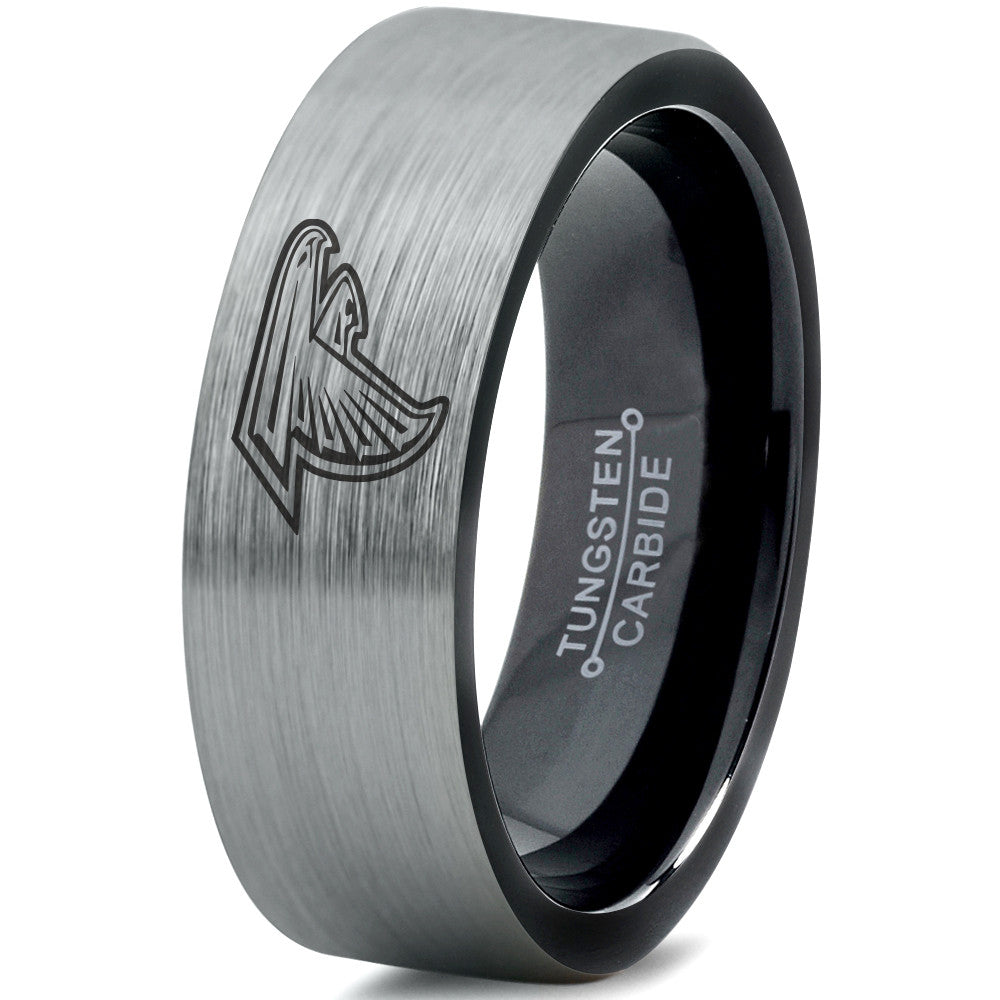 Atlanta Falcons Silver and Black Tungsten Ring