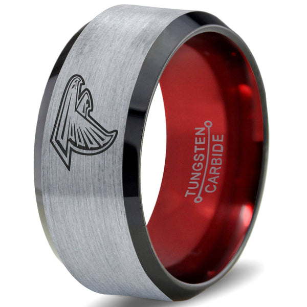 Atlanta Falcons Silver Black and Red Beveled Tungsten Ring