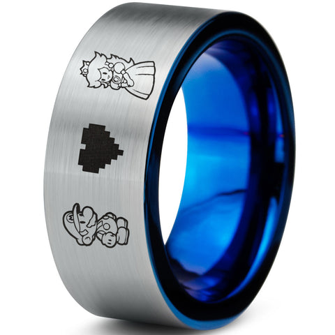 HOLIDAY SALE! Mario and Peach Silver and Blue Tungsten Ring