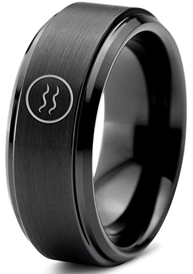 Horoscope Aquarius Symbol Tungsten Ring - Zealot