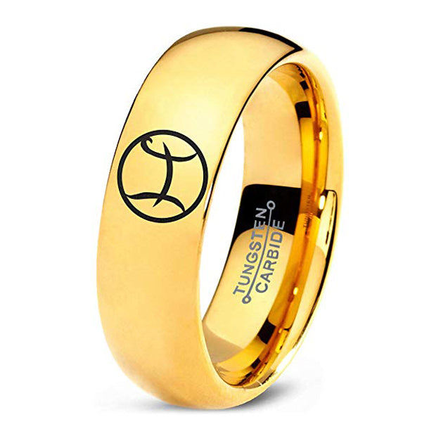 Horoscope Pisces Symbol Tungsten Ring - Zealot