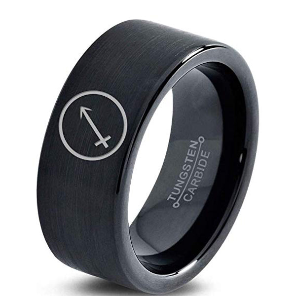 Horoscope Sagitarious Symbol Tungsten Ring