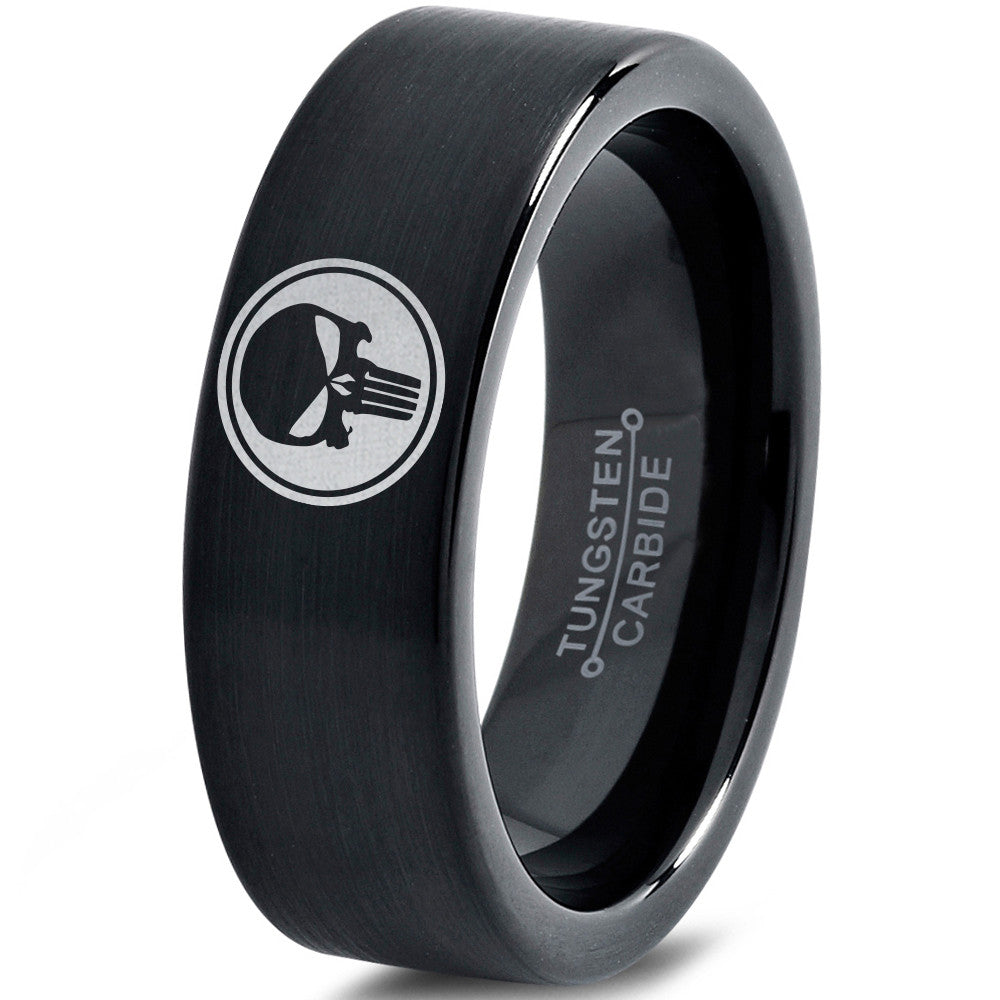 Punisher Inspired Black Tungsten Ring