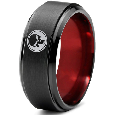 Punisher Inspired Black Red Beveled Tungsten Ring