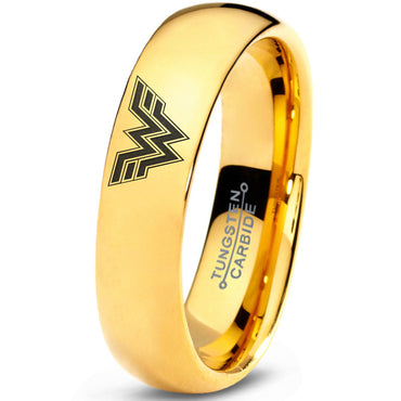 Wonder Woman Inspired 18k Yellow Gold Tungsten Dome Ring