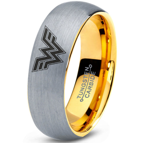 Wonder Woman Inspired 18k Yellow Gold Silver Dome Tungsten Ring