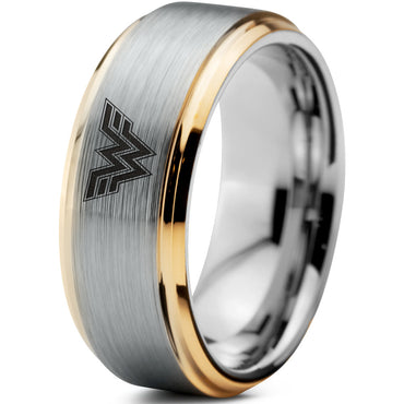 Wonder Woman Inspired 18k Yellow Gold Step Bevel Tungsten Ring