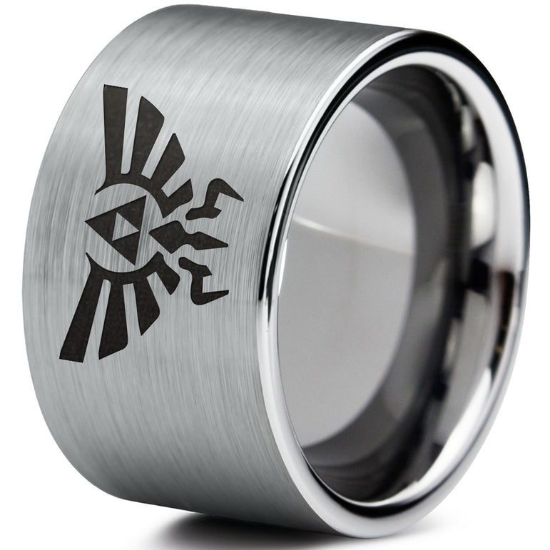 Triforce Hylian Brushed Silver Flat Cut Tungsten Ring