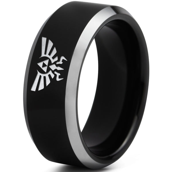 Triforce Hylian Polished Black Silver Beveled Tungsten Ring