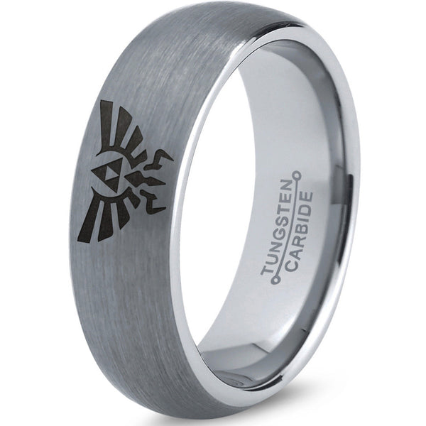 Triforce Hylian Silver Dome Cut Tungsten Brushed Ring