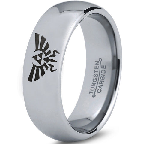 Zelda Hylian Silver Dome Cut Tungsten Ring
