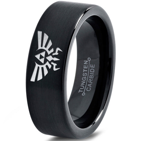 Zelda Hylian Triforce Black Pipe Cut Tungsten Ring