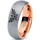 Zelda Hylian Triforce 18k Rose Gold Tungsten Brushed
