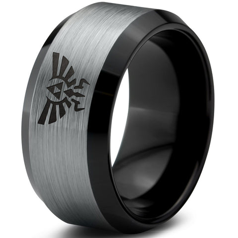 Triforce Black Beveled Silver Brushed Tungsten Ring