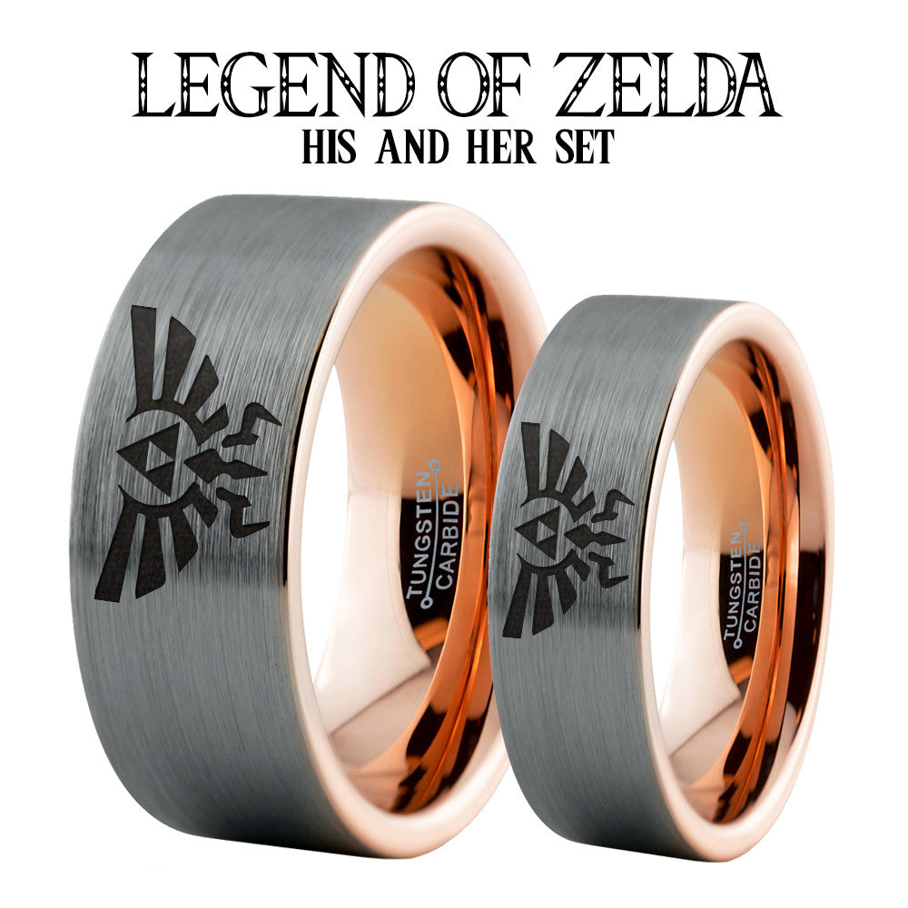 Zelda Triforce Hylian 18k Rose Gold Plated Tungsten Ring Set
