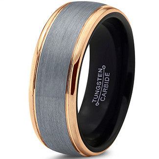 8mm Silver Brushed 18k Yelllow Gold Step Edge Black Tungsten Ring