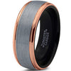 8mm Silver Brushed 18k Rose Gold Step Edge Black Tungsten Ring - Zealot
