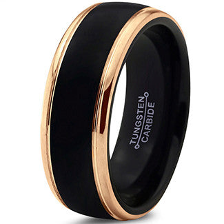 8mm Black 18k Yelllow Gold Step Edge Tungsten Ring