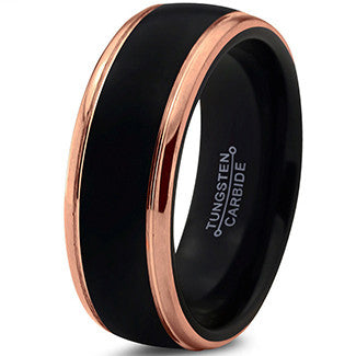 8mm Black 18k Rose Gold Step Edge Tungsten Ring