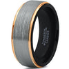 8mm Silver Brushed 18k Yellow Gold Step Edge Black Tungsten Ring - Zealot
