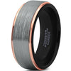 8mm Silver Brushed 18k Rose Gold Beveled Edge Black Tungsten Ring - Zealot
