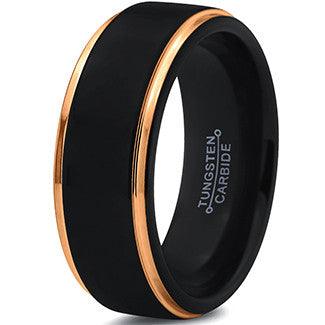 8mm Black 18k Yellow Gold Step Edge Tungsten Ring