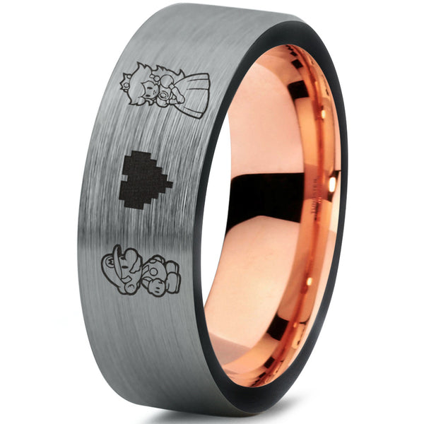 SPECIAL SALE! Mario and Peach Silver Black Tungsten Ring with 18k Rose Gold
