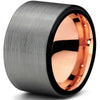 12mm 18k Rose Gold Plated Tungsten Brushed Black Pipe Cut - Zealot