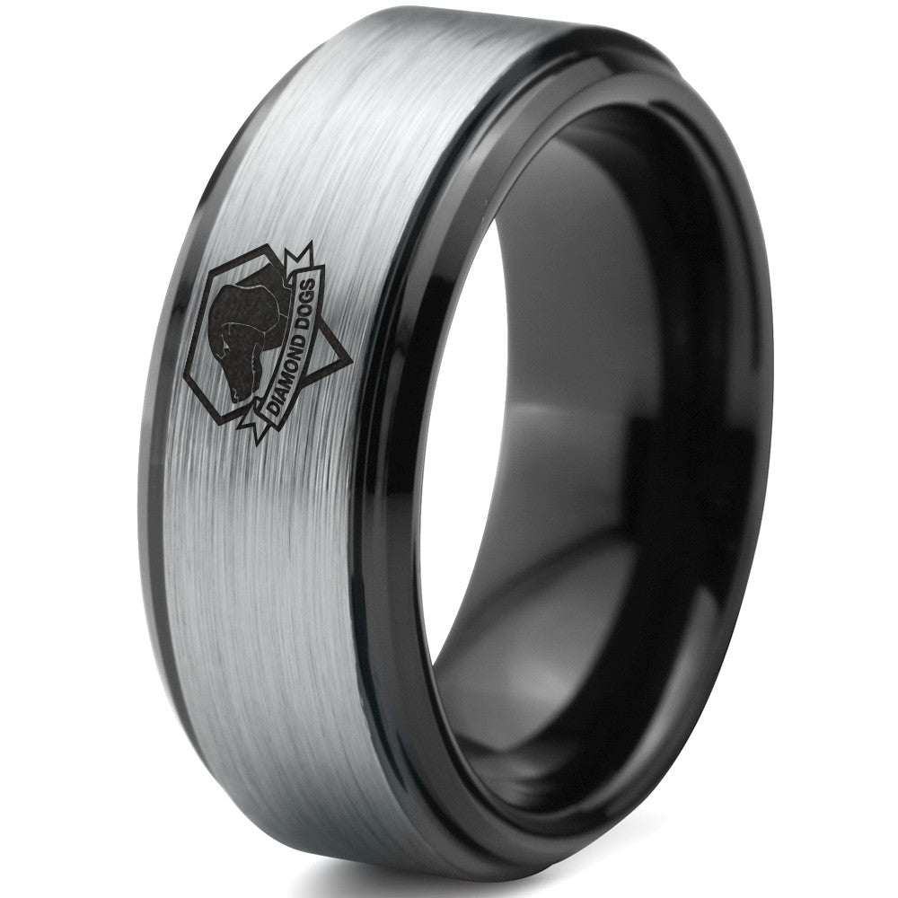 Metal Gear Solid Diamond Dogs Black Beveled Tungsten Ring